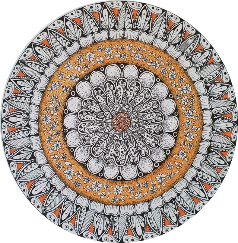 Mandala in black and orange
