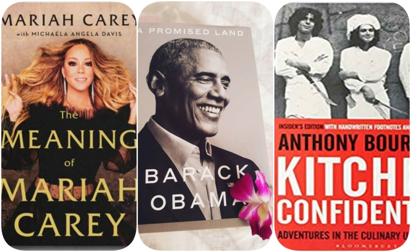 covers of biographies by Mariah Carey, Barack Obama, and Anthony Bourdain