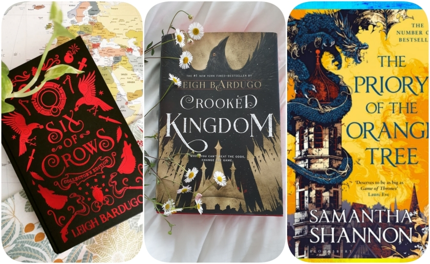 banner with Books: six of crows, Crooked Kingdom, and The Priory of the Orange Tree