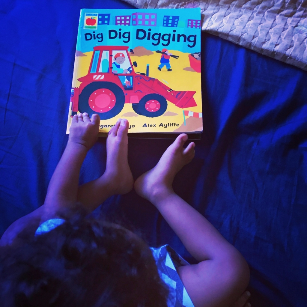 Kid with book titled Dig Dig Digging