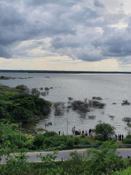 view of himayat sagar lake after heavy rains