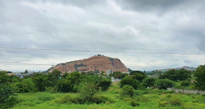 View of Bhongir fort monolith rock surrounded by greenery
