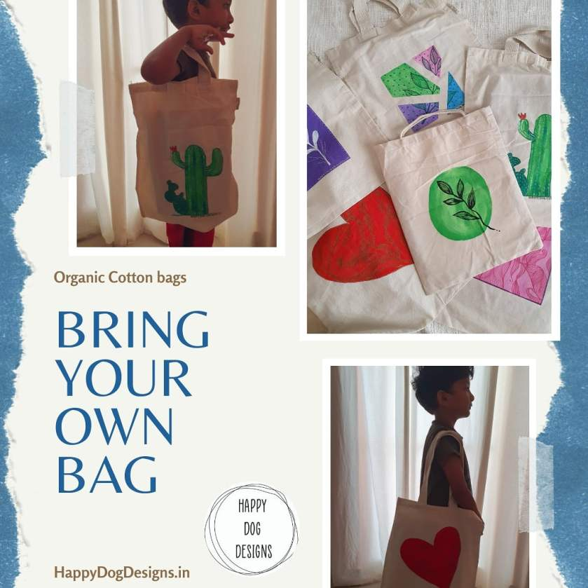 collage of hand painted cotton bags and a child using them