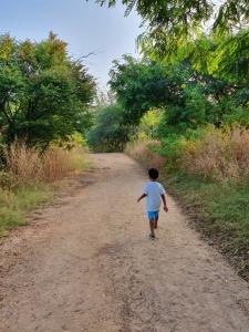 Child walking in KBR park hyderabad