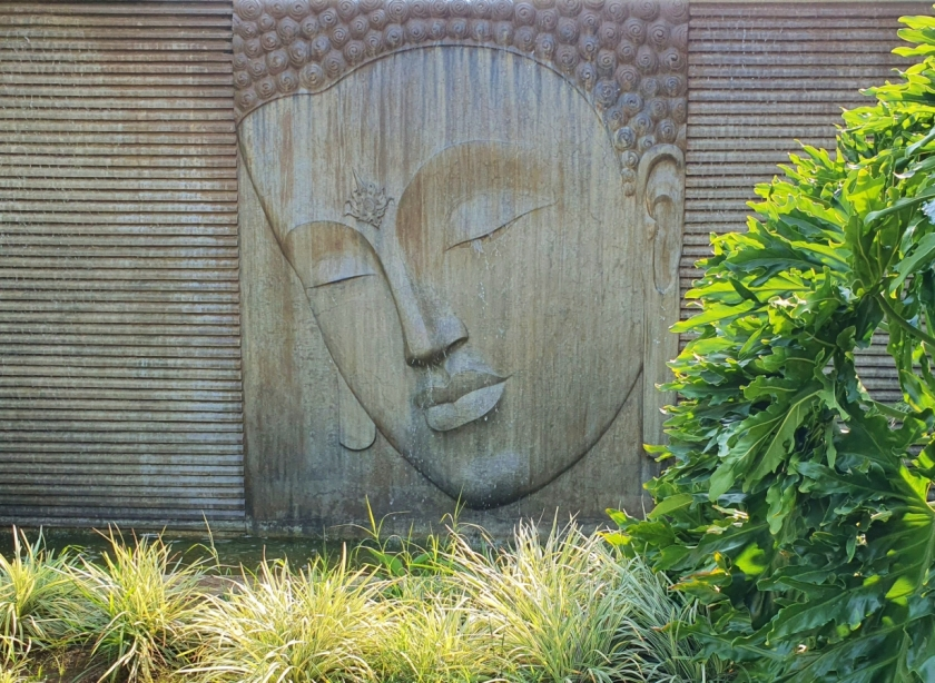 Buddha mural surrounded by plants
