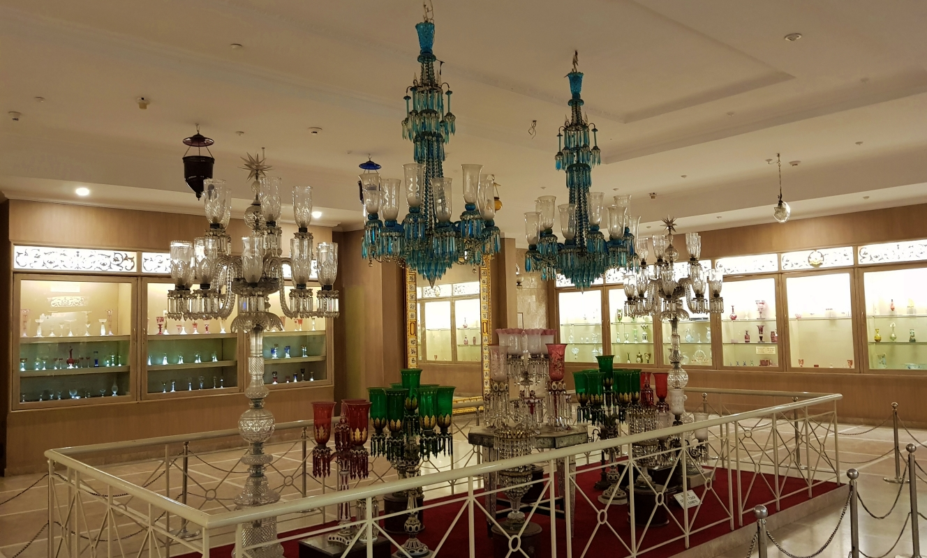 Salar jung Museum gallery with colourful chandeliers
