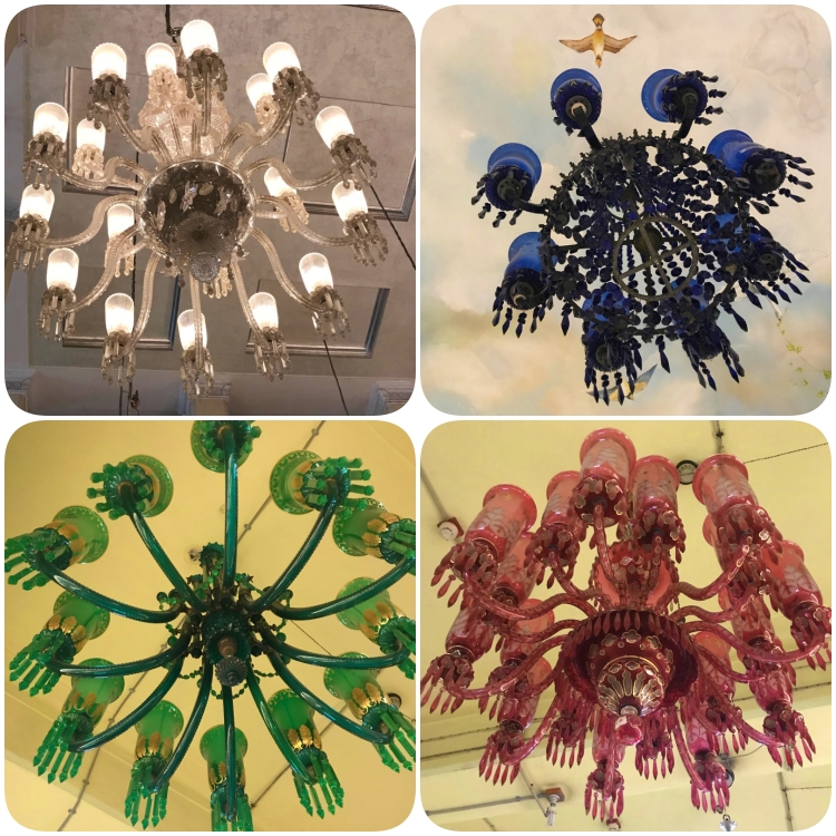 collage of colourful chandeliers at the salar jung museum hyderabad