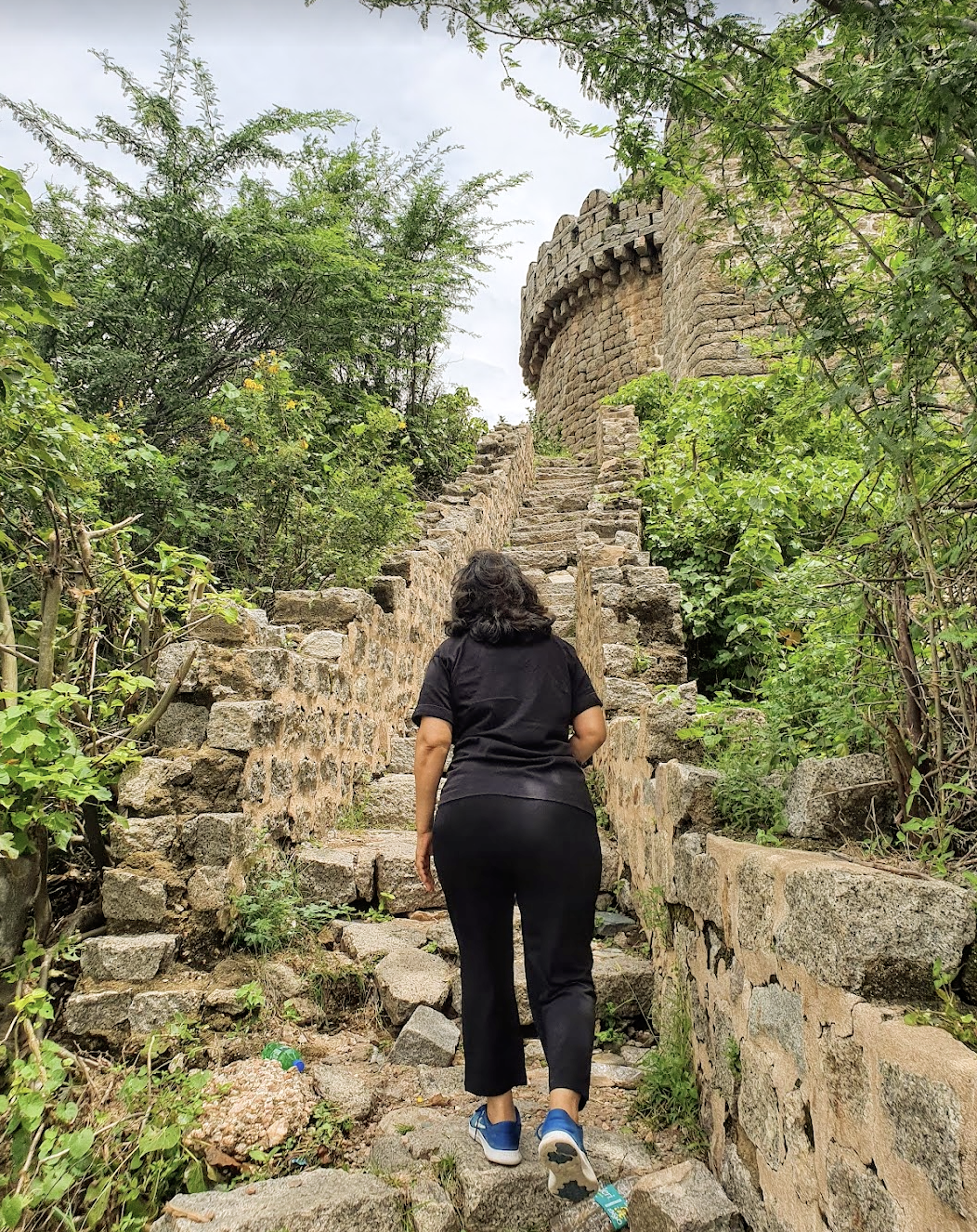 walking up to the bhongir fort