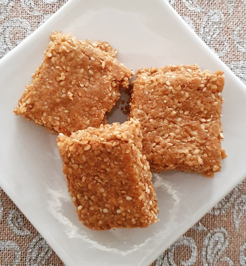 plate of 3 sesame and jaggery squares