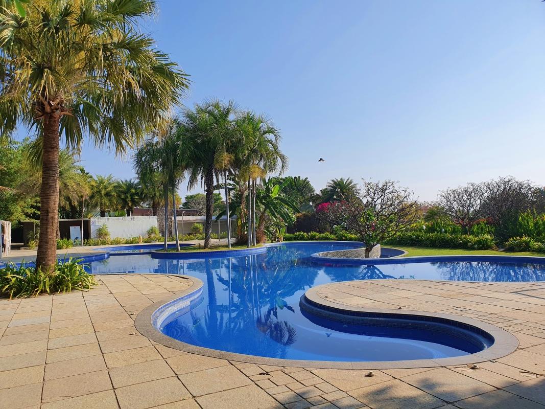 swirly-shaped swimming pool at a resort