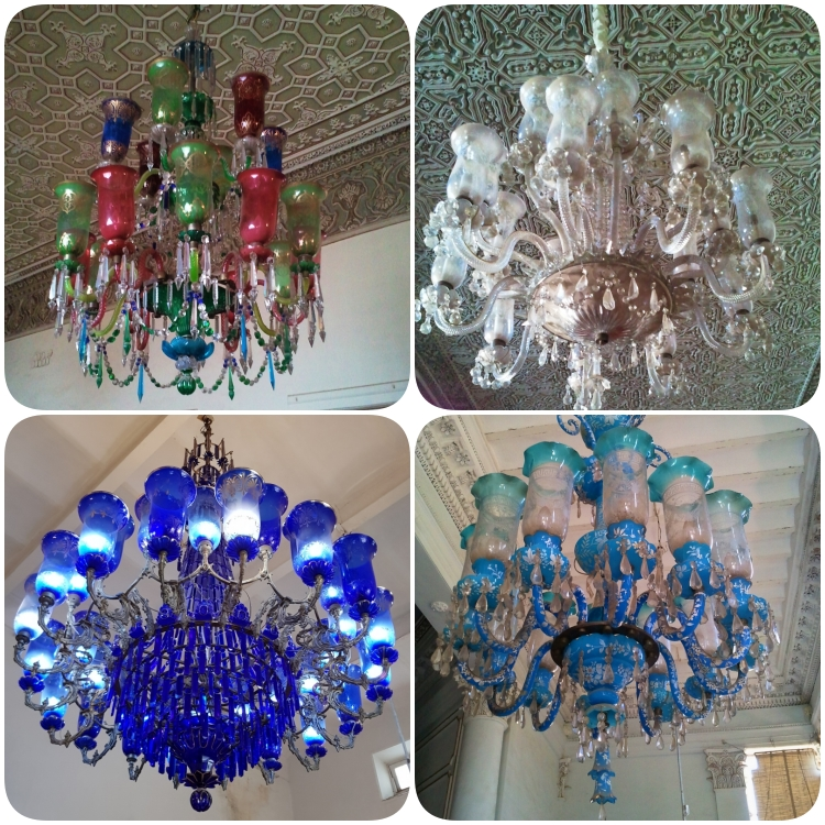 collage of chandeliers at the chowmahalla palace